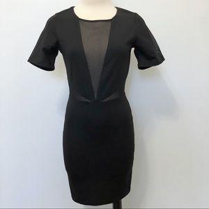 Lucca Couture Black Mesh Cutout Bodycon Dress